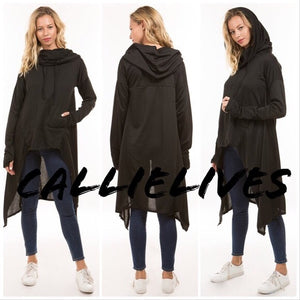 Miz Hi Lo: Kangaroo Hoodie Jacket Cape Top (PLUS)