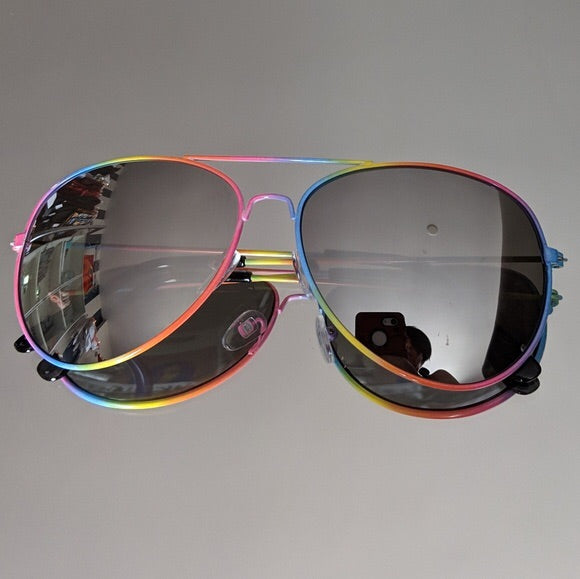 Rainbow Framed Aviator Frames w/Black Mirror Lens