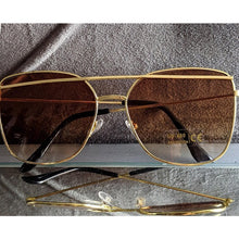 Load image into Gallery viewer, Gold Frame Sunglasses w/Brown Ombre Lens
