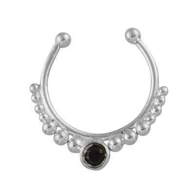 Black Spinel Crystal Faux Septum Ring - Sterling Silver