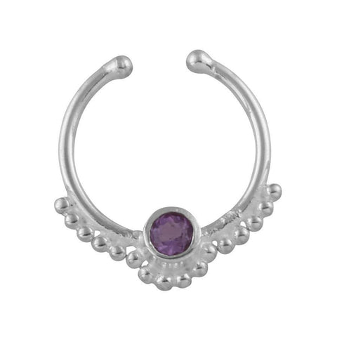 Gypsy - Amethyst Crystal Faux Septum Ring - Sterling Silver