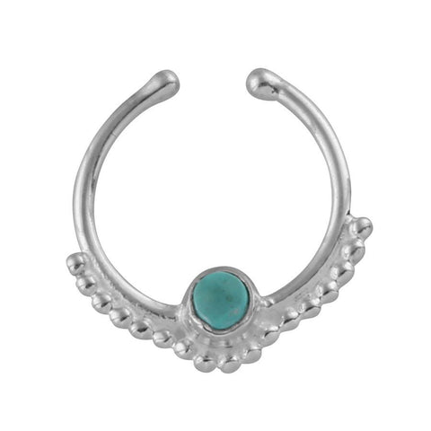 Gypsy - Turquoise Crystal Faux Septum Ring - Sterling Silver