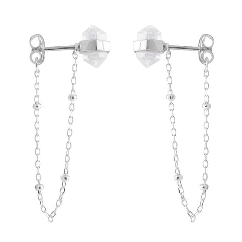 Clear Quartz Crystal Chain Stud Earrings - Sterling Silver