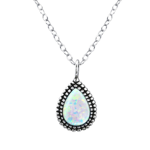 Bohemian Tear Drop White Opal Necklace - Sterling Silver
