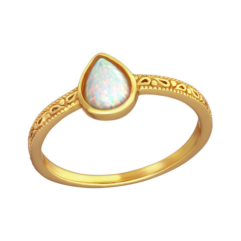 Bohemian Tear Drop Opal Ring - Gold Plated Sterling Silver