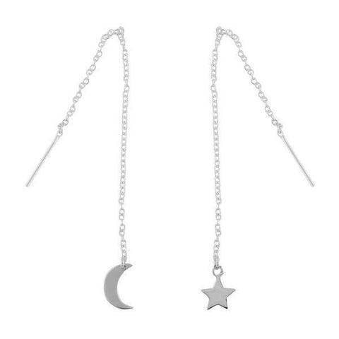 Star & Crescent Moon Threader Earrings - Sterling Silver