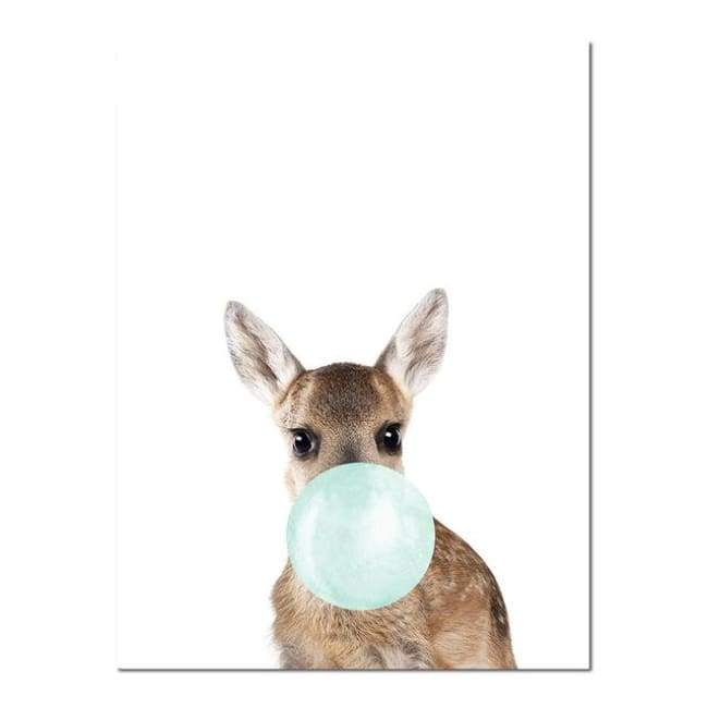 Bubble Gum Zoo Canvas Art - Blue Edition - 20X30 Cm (8X12 Inches) / Deer - Prints