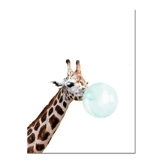 Bubble Gum Zoo Canvas Art - Blue Edition - 20X30 Cm (8X12 Inches) / Giraffe 2 - Prints