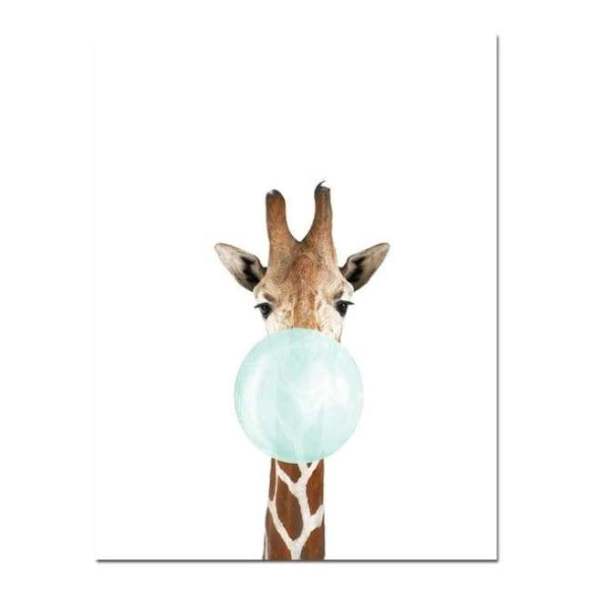 Bubble Gum Zoo Canvas Art - Blue Edition - 20X30 Cm (8X12 Inches) / Giraffe - Prints