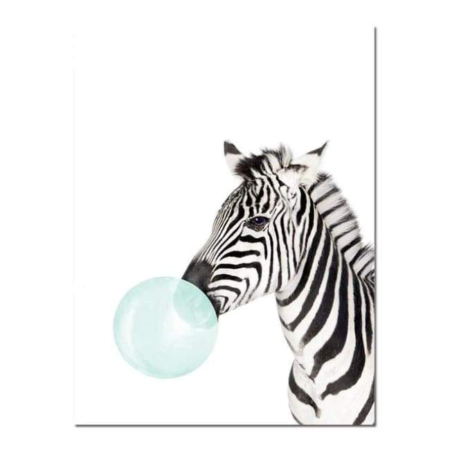 Bubble Gum Zoo Canvas Art - Blue Edition - 20X30 Cm (8X12 Inches) / Zebra 2 - Prints