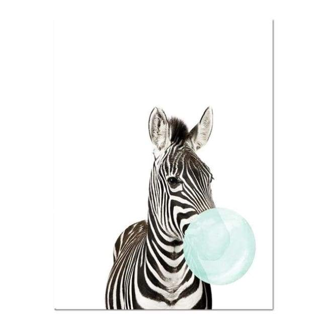 Bubble Gum Zoo Canvas Art - Blue Edition - 20X30 Cm (8X12 Inches) / Zebra - Prints