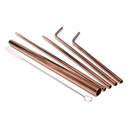 Rose Gold Stainless Steel Straw Set