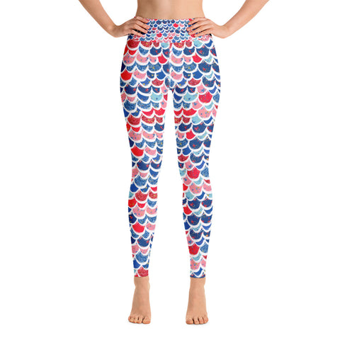 Mermaid Scale 4th of July Yoga Leggings - Mermaids and Minis
