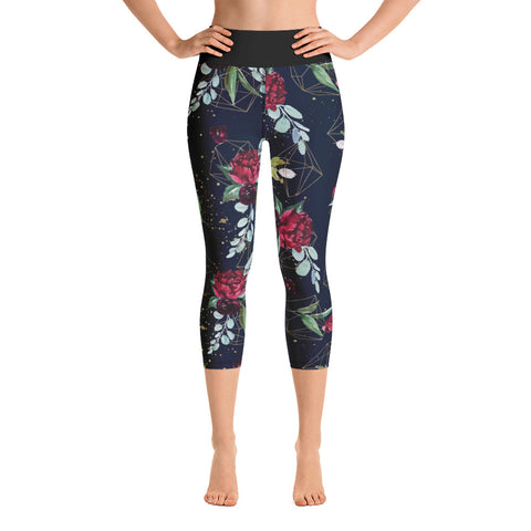 Dark Floral Dream Yoga Capri Leggings - Mermaids and Minis
