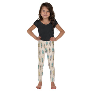 Autumn Feathers Beige Kid's Leggings - Mermaids and Minis