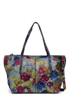 Load image into Gallery viewer, Vintage Floral Print Leather Tote