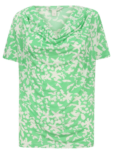 Ladies Short Sleeve Green White Blouse Top