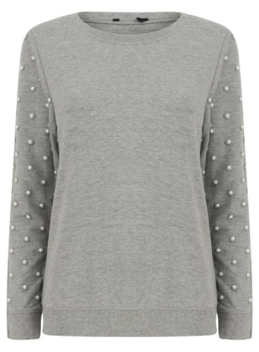 Ex New Look Long Sleeve Pearl Arm Grey Jumper Sweater