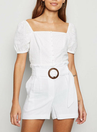 Ex New Look Off White Belted Ring Buckle Linen Blend Shorts