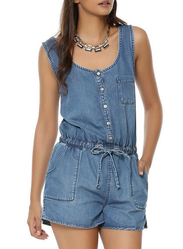 Ex New Look Denim Blue Bella Sleeveless Playsuit