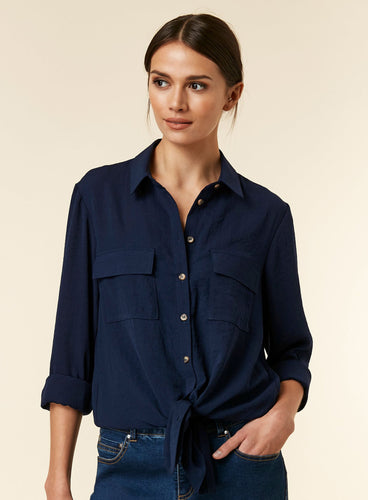 Ex Wallis Navy Linen Look Shirt