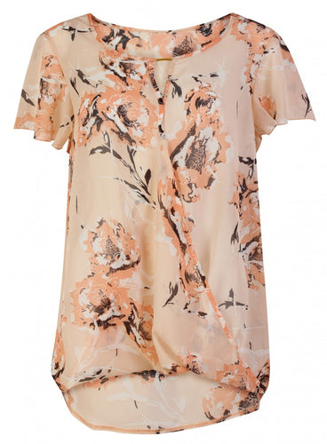 Threads Simply Be Short Sleeve Floaty Floral Print Sheer Blouse Top Plus Size