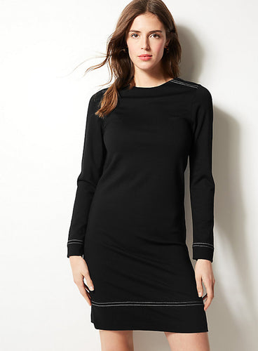 Ex Marks And Spencer Collection Long Sleeve Black Shift Dress