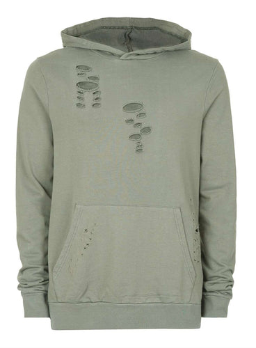 Ex Topman Khaki Distressed Fixed Hem Oversized Hoodie