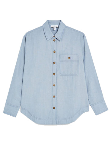 Ex Topshop Collared Blue Chambray Shirt