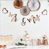 Rose Gold Mr and Mrs Bunting / Banner with Hearts - Club Green - Made by you Supplies