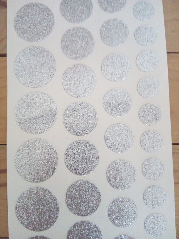 Self-Adhesive Glitter Dots - Silver -Sheet of 48 - Made by you Supplies