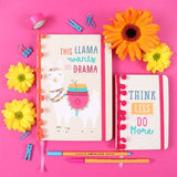 This Llama Needs No Drama A5 Hardback Notebook - Made by you Supplies