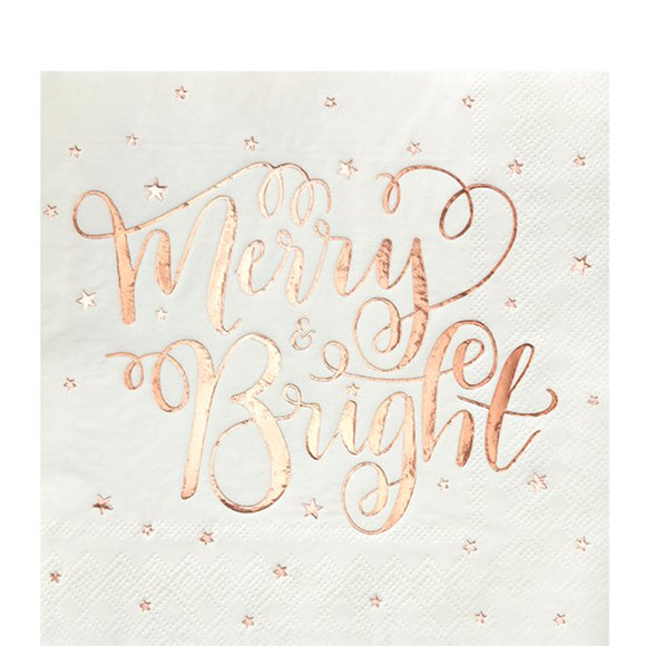 Merry and Bright Foiled Paper Napkins in rose gold - Pack of 20 - Ginger Ray - Made by you Supplies