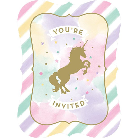 Unicorn Sparkle Party Invitations - Pack of 8 - Made by you Supplies