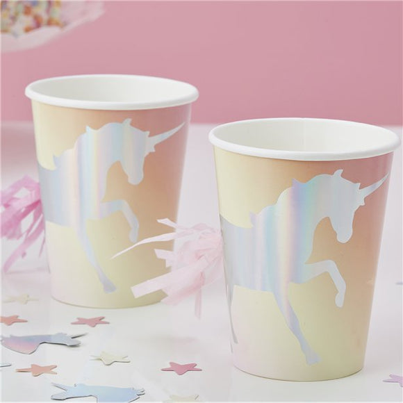 Unicorn Wishes Iridescent Tassel Cups - 255ml - Ginger Ray