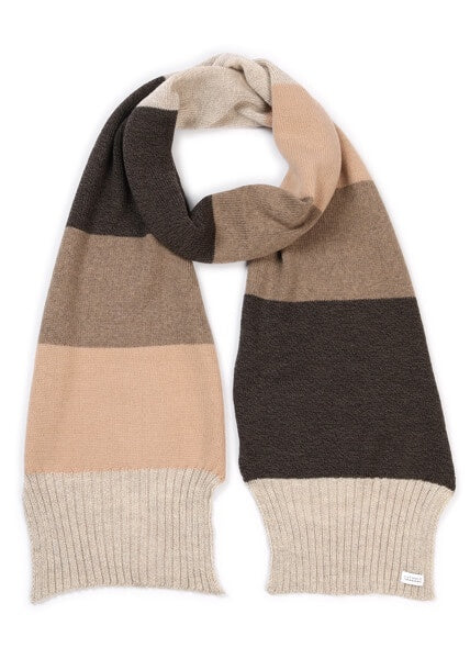 Piper 4 Colour Rib Trim Scarf- Merino Wool- Almond/Cinnamon