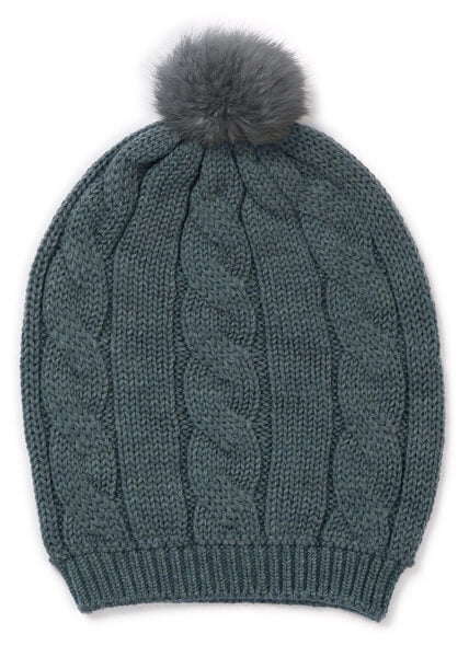 Trinity Chunky Cable Beanie with Pom Pom- Duck Egg/Cinnamon