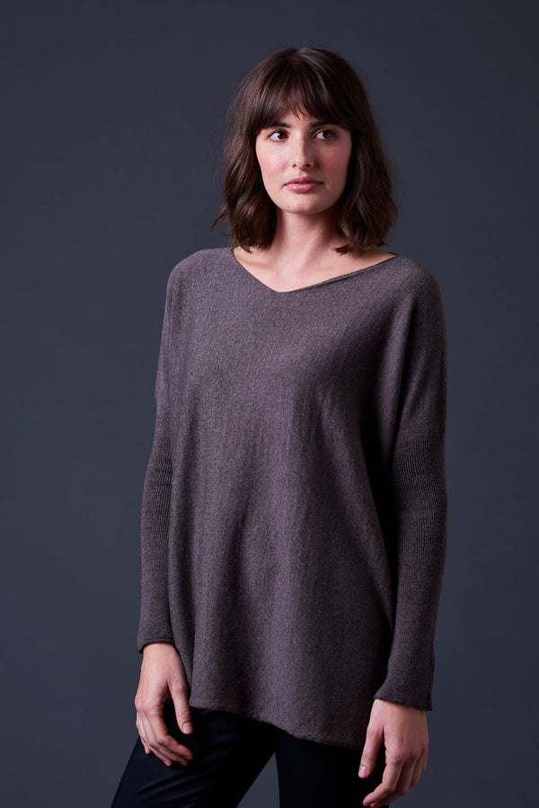 Tully V Neck Jersey Top with Rib Sleeve- Merino Wool