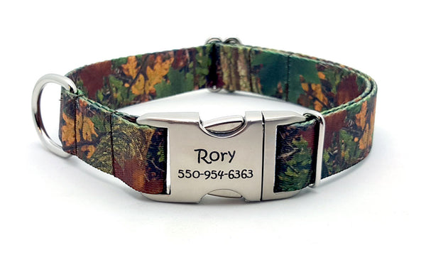 Forest Camo Polyester Webbing Dog Collar with Laser Engraved Personalized Buckle - Flying Dog Collars