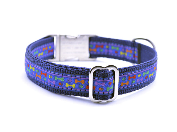 Multi Colored Bones/Paws Dog Collar with Personalized Buckle - Flying Dog Collars
