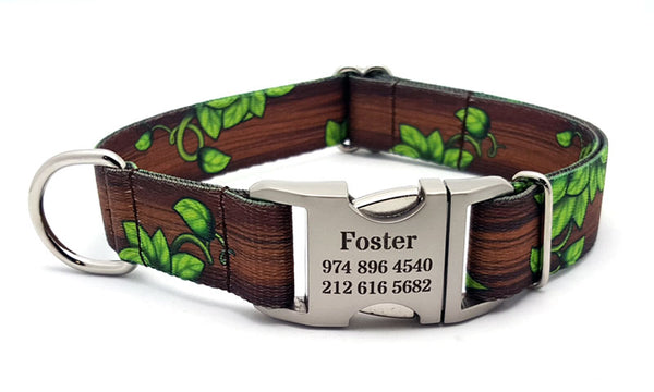 Gaia's Grove Polyester Webbing Dog Collar with Laser Engraved Personalized Buckle - Flying Dog Collars