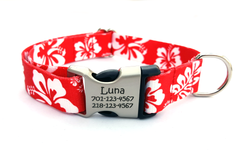 The Hawaiian Polyester Webbing Dog Collar with Laser Engraved Personalized Buckle - RED - Flying Dog Collars