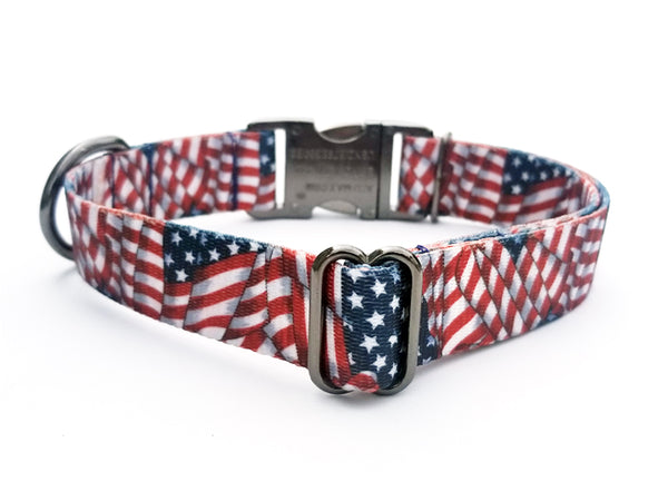 Patriotic Tribute Polyester Webbing Dog Collar with Laser Engraved Personalized Buckle