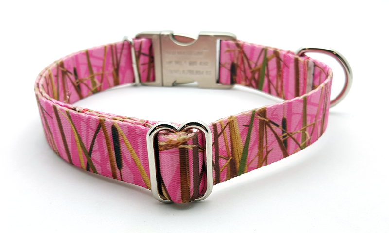 Waterfowl Camo Polyester Webbing Dog Collar with Laser Engraved Personalized Buckle - Pink - Flying Dog Collars