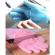 Silicone Work Gloves Brush Kitchen Washing Tools Magic Silicone Dish Washing Gloves For Household 1pair, heavy lifting gloves