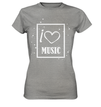 Laden Sie das Bild in den Galerie-Viewer, I love Music Heart-Ladies Premium Shirt