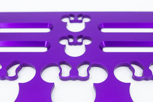 "Mouse Head with Bow Violet 12"" x 7"" Universal Wheelchair Footplate Rear Bolt Flip Up"
