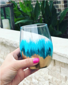 Teal and Gold painted stemless wine glass/ birthday gift/ wedding glasses/ bachelorette glass/ bridal party/ hand painted glass/ ombré vase
