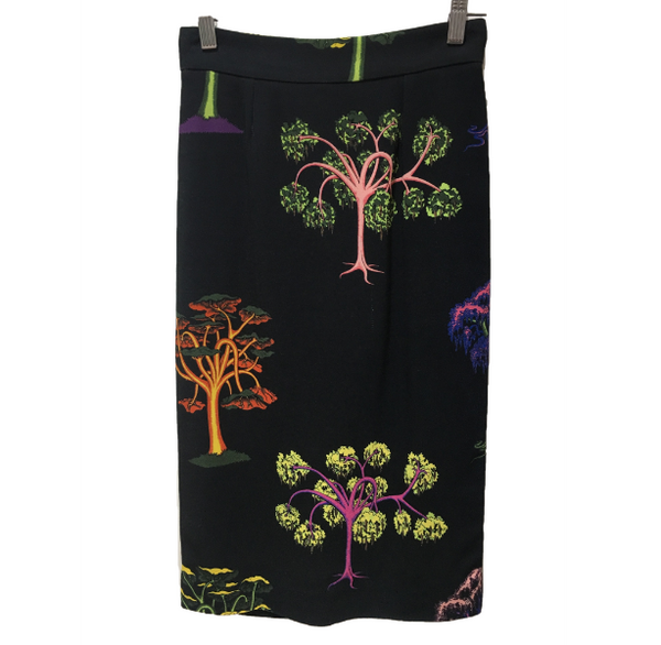 Stella McCartney Lorna black-tree print crepe pencil skirt