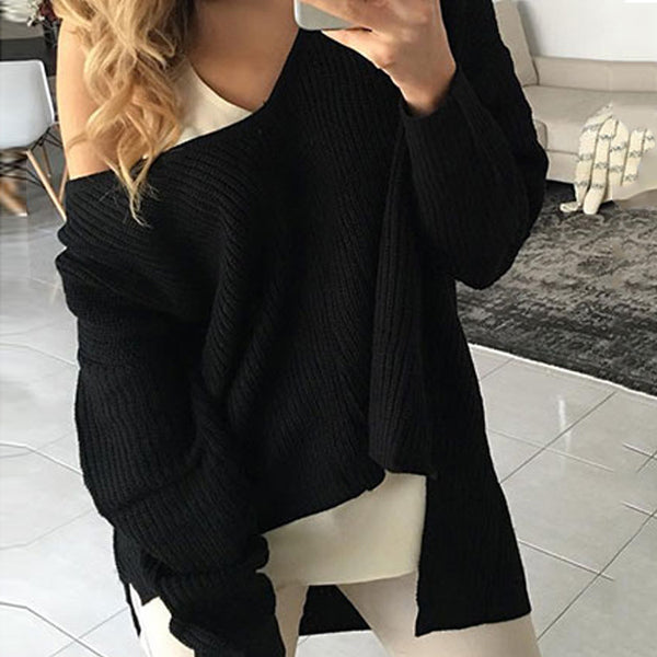 Fashion Simple Autumn Pure Color Sweater